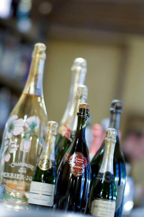 Selection of different Champagne bottles on a bar