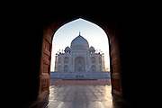 Taj Mahal mausoleum western view, viewed from Taj Mahal Mosque, at dawn in Agra, Uttar Pradesh, India