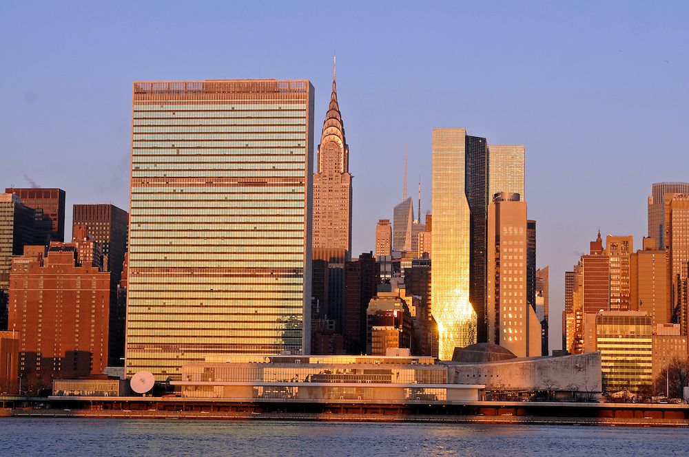 The United Nations building designed by Le Corbusier. New York City, New York,  East River, Style Modern, East Side