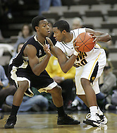 26 NOVEMBER 2007: Iowa guard Jeff Peterson (30) tries to keep the ball away from Wake Forest guard Ishmael Smith (10) in Wake Forest's 56-47 win over Iowa at Carver-Hawkeye Arena in Iowa City, Iowa on November 26, 2007.