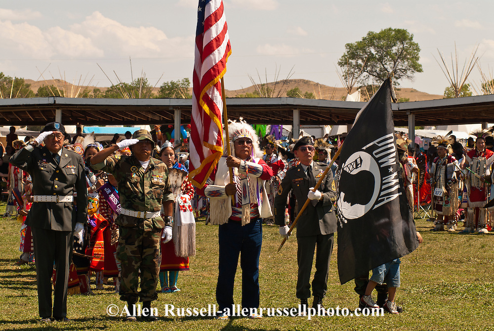Veterans ceremony, Crow Fair, powwow, Crow Indian Reservation, Montana