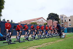 LOS ANGELES, USA - Wednesday, May 23, 2018: Wales players warm-up on bikes during a training session at UCLA ahead of the International friendly match against Mexico. Chris Mepham, Connor Roberts, Harry Wilsonm Ashley 'Jazz' Richards, Ben Davies, Chris Gunter, Andy King. (Pic by David Rawcliffe/Propaganda)