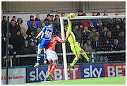 Ben Garrett Save during the Sky Bet League 1 match between Rochdale and Crewe Alexandra at Spotland, Rochdale, England on 16 February 2016. Photo by Daniel Youngs.