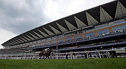 Zaaki ridden by jockey Frankie Dettori winning the Ascot Shop Paradise Stakes (A Queen Anne Stakes Trial) during Royal Ascot Trials Day at Ascot Racecourse.