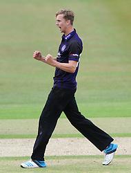 Craig Miles of Gloucestershire celebrates - Photo mandatory by-line: Dougie Allward/JMP - Mobile: 07966 386802 - 12/07/2015 - SPORT - Cricket - Cheltenham - Cheltenham College - Natwest Blast T20