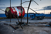 Ishinomaki, December 12 2011 - A tank is standing in the middle of the road, 9 months after the tsunami hit the coast on March 11.