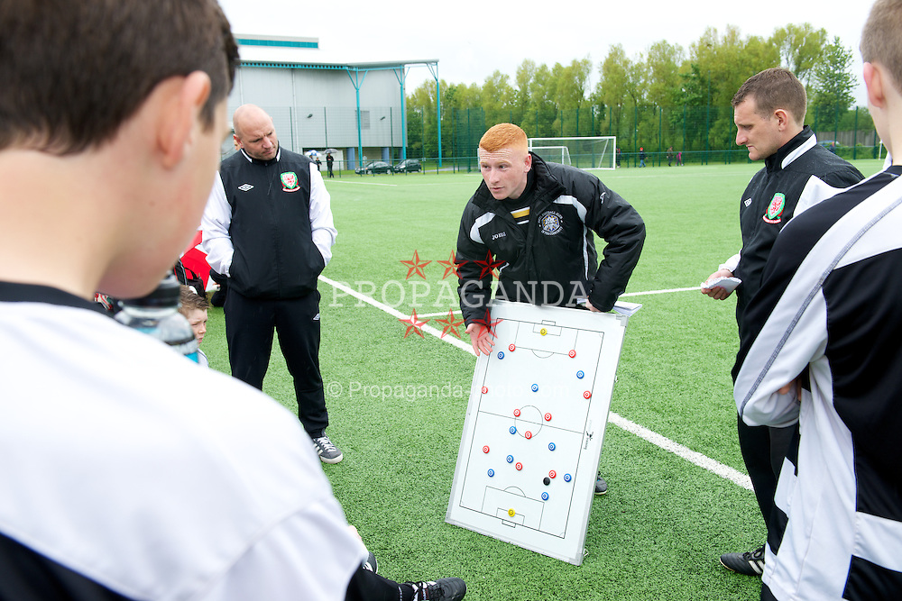 NEWPORT, WALES - Tuesday, May 28, 2013: North Welsh Premier League Academy Boys' coach Niall McGuiness during the Welsh Football Trust Cymru Cup at Dragon Park. (Pic by David Rawcliffe/Propaganda)