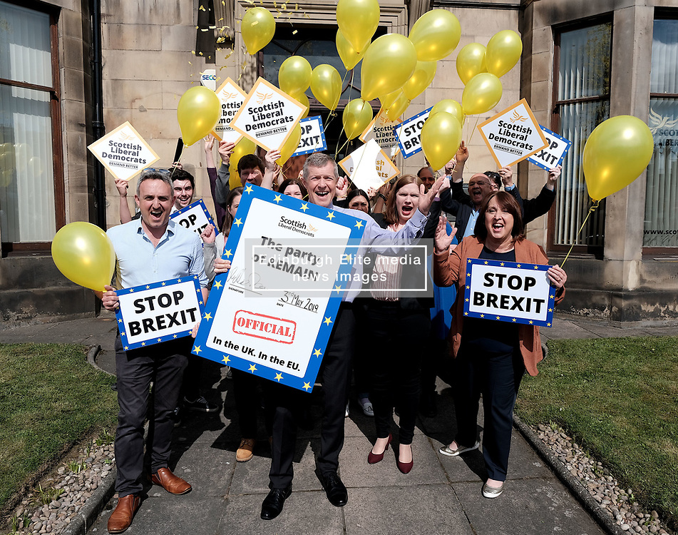 "Scottish Liberal Democrats celebrate English local election results with ""champagne moment"" and confetti cannons, Friday 3rd May 2019<br /> <br /> Scottish Liberal Democrat leader Willie Rennie and European election candidates celebrate the big gains made by Liberal Democrat colleagues overnight in the English local elections and send a message that in every corner of the UK, Liberal Democrats are the party of Remain,  leading the way in fighting to make the chaos of Brexit stop.<br /> <br /> Pictured: Willie Rennie and his team<br /> <br /> Alex Todd 