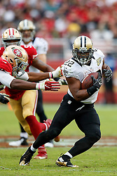 SANTA CLARA, CA - NOVEMBER 06: Running back Mark Ingram #22 of the New Orleans Saints rushes past defensive end Ronald Blair #98 of the San Francisco 49ers during the third quarter at Levi's Stadium on November 6, 2016 in Santa Clara, California. The New Orleans Saints defeated the San Francisco 49ers 41-23. (Photo by Jason O. Watson/Getty Images) *** Local Caption *** Mark Ingram; Ronald Blair