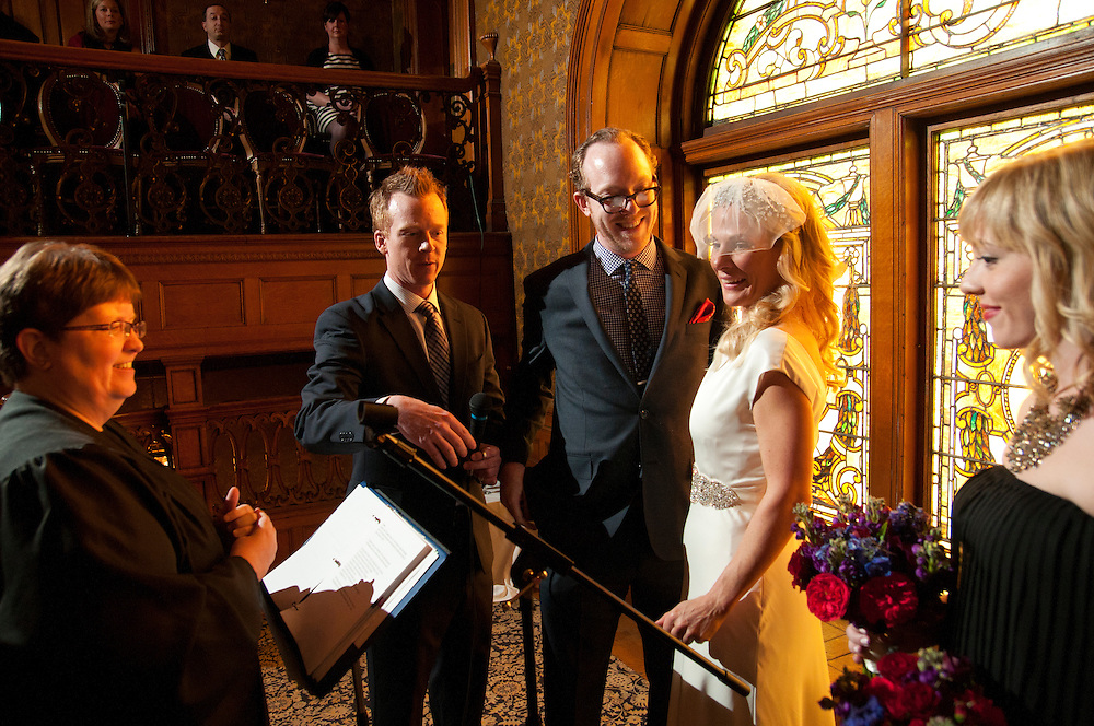 Jeremy Adragna and Elizabeth Durham celebrate their wedding ceremony and reception with family and friends at the Whitney Mansion in Detroit on Saturday, March 9th. © 2013 Brian J. Morowczynski ViaPhotos.
