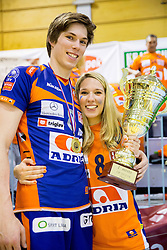 Jan Klobucar of ACH with his girlfriend after the volleyball game between OK Panvita Pomgrad and ACH Volley in Final of 1st DOL Slovenian National Championship 2014, on April 15, 2014 in Murska Sobota, Slovenia. ACH won 3-1 and became Slovenian Volleyball Champion 2014. Photo by Vid Ponikvar / Sportida
