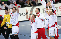 Team of Poland (Goalkeeper of Poland Adam Malcher, Bartosz Jurecki (13) of Poland)  celebrates after winning the 21st Men's World Handball Championship 2009 Bronze medal match between National teams of Poland and Denmark, on February 1, 2009, in Arena Zagreb, Zagreb, Croatia.  Won of Poland 31:23. (Photo by Vid Ponikvar / Sportida)