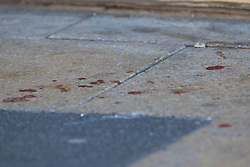Blood is pattered on the pavement outside a betting shop on Ilford High Road where a man alleged by witnesses to be a drug dealer, was first attacked and subsequently stabbed to death outside Ilford Station following a fight outside a Paddy Power. London, February 27 2019.