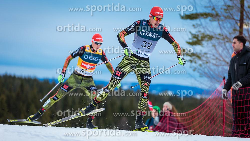 05.12.2015, Nordic Arena, NOR, FIS Weltcup Nordische Kombination, Lillehammer, Langlauf, im Bild v.l.: Eric Frenzel (GER), Johannes Rydzek (GER) // Eric Frenzel of Germany, Johannes Rydzek of Germany during Cross Country Competition of FIS Nordic Combined World Cup at the Nordic Arena, Lillehammer, Norway on 2015/12/05. EXPA Pictures © 2015, PhotoCredit: EXPA/ JFK