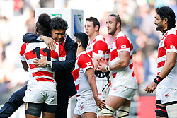 Japan Winger Kotaro Matsushima and the Japanese players and staff celebrate after Japan win the match - Mandatory byline: Rogan Thomson/JMP - 07966 386802 - 03/10/2015 - RUGBY UNION - Stadium:mk - Milton Keynes, England - Samoa v Japan - Rugby World Cup 2015 Pool B.