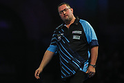 Alan Norris reacts to missing a dart at a double during the World Darts Championships 2018 at Alexandra Palace, London, United Kingdom on 20 December 2018.