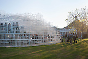 Private view, Serpentine Gallery Pavilion 2013. Designed by Sou Fujimoto. Kensington Gardens. 6 June 2013.