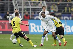 """28.01.2012, Signal Iduna Park, Dortmund, GER, 1. FBL, Borussia Dortmund vs 1899 Hoffenheim, 19. Spieltag, im Bild v.l. Sebastian Kehl (Borussia Dortmund), Sebastian Rudy (TSG 1899 Hoffenheim), Jannik Vestergaard (TSG 1899 Hoffenheim), Ryan Babel (TSG 1899 Hoffenheim), Shinji Kagawa (Borussia Dortmund), Aktion // during the football match of the german """"Bundesliga"""", 19th round, between GER, 1. FBL, Borussia Dortmund and 1899 Hoffenheim, at the Signal Iduna Park, Dortmund, Germany on 2012/01/28. EXPA Pictures © 2012, PhotoCredit: EXPA/ Eibner/ Oliver Vogler..***** ATTENTION - OUT OF GER *****"""