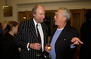 Ed Victor and Michael White, 'Feast Food that celebrates Life' by Nigella Lawson- book launch. Cadogan Hall, Sloane Terace. 11 October 2004. ONE TIME USE ONLY - DO NOT ARCHIVE  © Copyright Photograph by Dafydd Jones 66 Stockwell Park Rd. London SW9 0DA Tel 020 7733 0108 www.dafjones.com