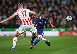 Pedro of Chelsea (R) in action - Mandatory by-line: Jack Phillips/JMP - 18/03/2017 - FOOTBALL - Bet365 Stadium - Stoke-on-Trent, England - Stoke City v Chelsea - Premier League