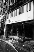 7/11/1967<br /> 11/7/1967<br /> 7 November 1967<br /> <br /> A fire completely destroyed Pigots on Grafton St. The street was closed and caused long delays in the early morning rush hour.<br /> <br /> Picture shows the shop front section of the building with water pouring onto the shop window