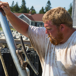 Spruce Head Fisherman's Co-op employee Jeff Bailey, on the wharf in South Thomaston, Maine.