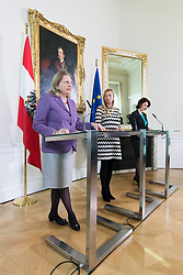 "17.01.2019, Bundeskanzleramt, Wien, AUT, Bundesregierung, Pressekonferenz mit dem Titel ""Gewalt- und Opferschutz - Maßnahmen der Bundesregierung für mehr Frauensicherheit"", im Bild Außenministerin Karin Kneissl (FPÖ), Familien- und Jugendministerin Juliane Bogner-Strauß (ÖVP) und Staatssekretärin im Innenministerium Karoline Edtstadler (ÖVP) // Austrian Minister for Europe, Integration and Foreign Affairs Karin Kneissl, Austrianminister for family affairs Juliane Bogner-Strauss and Austrian State Secretary of the Interior Ministry Karoline Edstadler during an media briefing concerning about how to protect women against violence at federal chancellors office in Vienna, Austria on 2019/01/17 EXPA Pictures © 2019, PhotoCredit: EXPA/ Michael Gruber"