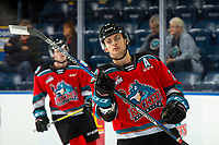 KELOWNA, BC - NOVEMBER 6:  Leif Mattson #28 of the Kelowna Rockets warms up on the ice against the Victoria Royals at Prospera Place on November 6, 2019 in Kelowna, Canada. (Photo by Marissa Baecker/Shoot the Breeze)