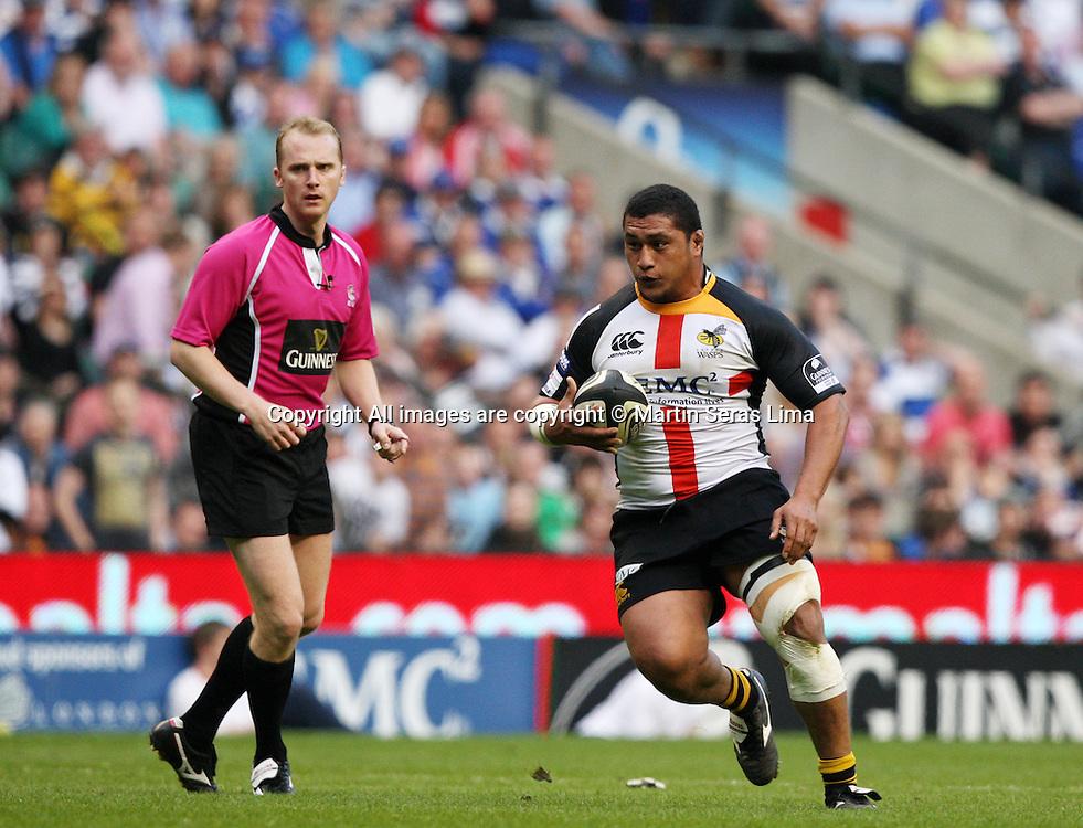 Sakaria Taulafo with the ball- Guinness Premiership - London Wasps v Bath Rugby - Saturday 24 April 2010. Twickenham - London