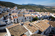 Rooftops in the Andalucian village of Zahara de la Sierra, Cadiz province, Spain in the Parque Natural de Sierra de Grazalema,