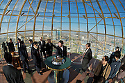 The Baiterek is the New Astana's main symbol and landmark. Visitors can lay their hand in a golden imprint of President Nursultan Nasarbaev's right hand. Doing so, they have one wish supposed to come true.