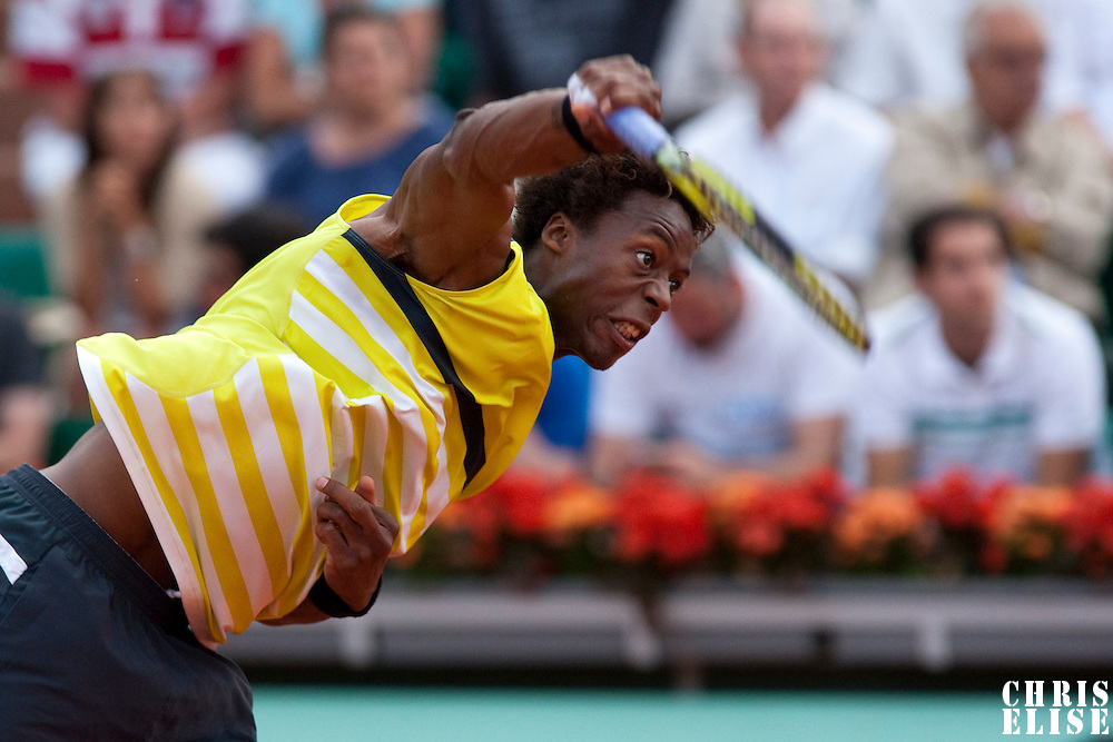 1 June 2009: Gael Monfils of France serves during the Men's Single Fourth Round match on day nine of the French Open at Roland Garros in Paris, France.