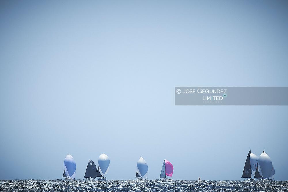 Sailboats on the horizon at Mediterranean Sea