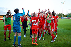 NEWPORT, WALES - Tuesday, June 12, 2018: Wales players celebrate after beating Russia 3-0 during the FIFA Women's World Cup 2019 Qualifying Round Group 1 match between Wales and Russia at Newport Stadium. (Pic by David Rawcliffe/Propaganda)