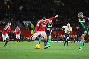 Wayne Rooney of Manchester United shoots during the Barclays Premier League match between Manchester United and Stoke City at Old Trafford, Manchester, England on 2 February 2016. Photo by Phil Duncan.
