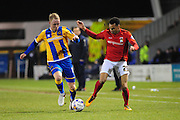 Jack Grimmer of Shrewsbury Town (on loan from Fulham FC) and Jacob Murphy of Coventry City FC (on loan from Norwich City) during the Sky Bet League 1 match between Shrewsbury Town and Coventry City at Greenhous Meadow, Shrewsbury, England on 8 March 2016. Photo by Mike Sheridan.