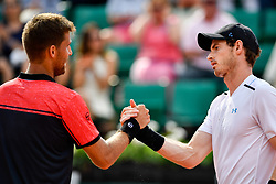 PARIS, June 2, 2017  Andy Murray (R) of Britain greets Martin Klizan of Slovakia after the men's singles 2nd round match at the French Open Tennis Tournament 2017 in Paris France on June 1, 2017. Andy Murray won 3-1. (Credit Image: © Chen Yichen/Xinhua via ZUMA Wire)