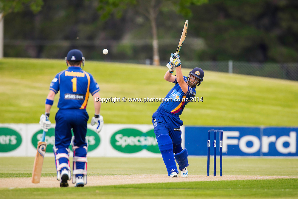 Aaron Redmond bats for the Otago Volts - Ford Trophy - Volts v Knights, 27 December 2014Saturday, 27 December 2014, Molyneux Park, Alexandra - List-A Match - Ford Trophy CREDIT: Libby Law / www.photosport.co.nz