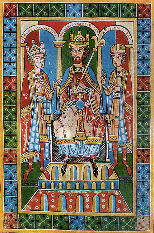 Frederic I Barbarossa and his sons King Henry VI and Duke Frederick VI. Medieval illumination from the Chronic of the Guelphs (Weingarten Abbey, 1179-1191).