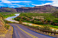 The Camino del Rio (along the Rio Grande River, which is the border of the USA and Mexico. Mexico is on the right), Big Bend Ranch State Park, Texas USA.