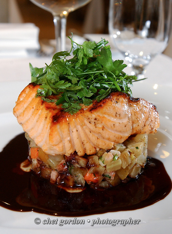 Wild Salmon atop a roasted vegetable relish prepared by Chef Ed Brown at The Sea Grill Restaurant in Rockefeller Center in Manhattan on Wednesday, January 14, 2004.