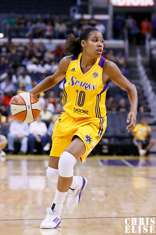 24 July 2014: Los Angeles Sparks guard Lindsey Harding (10) dribbles during the Phoenix Mercury 93-73 victory over the Los Angeles Sparks, at the Staples Center, Los Angeles, California, USA.