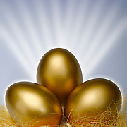 Golden eggs in a nest with rays of light to signify savings or wealth coming to fruition.