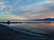 View over a large lake at sunset Salton Sea USA