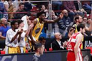 Esultanza panchina Fiat Torino, EA7 EMPORIO ARMANI OLIMPIA MILANO vs AUXILIUM FIAT TORINO, 25 giornata Campionato Lega Basket Serie A, Milano 08 aprile 2018 Mediolanum Forum FOTO: Bertani/Ciamillo