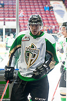 KELOWNA, CANADA - DECEMBER 6: Dylan Stewart #26 of Prince Albert Raiders exits the ice against the Kelowna Rockets on December 6, 2014 at Prospera Place in Kelowna, British Columbia, Canada.  (Photo by Marissa Baecker/Shoot the Breeze)  *** Local Caption *** Dylan Stewart;