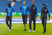 West Bromwich Albion FC players inspecting the pitch ahead of the FA Cup fourth round match between Brighton and Hove Albion and West Bromwich Albion at the American Express Community Stadium, Brighton and Hove, England on 26 January 2019.
