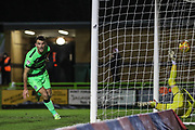 Forest Green Rovers Christian Doidge(9) heads the ball scores a goal 1-0 during the EFL Sky Bet League 2 match between Forest Green Rovers and Grimsby Town FC at the New Lawn, Forest Green, United Kingdom on 22 January 2019.