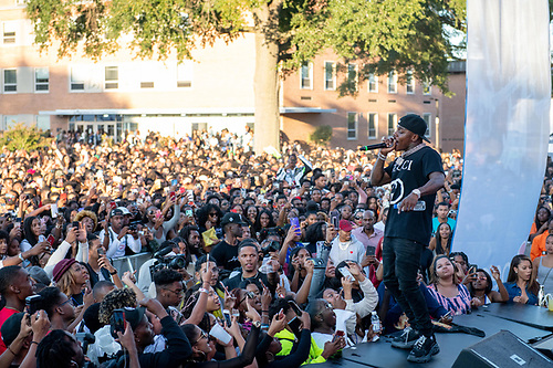 Rapper DaBaby performs for an audience of Howard University Homecoming attendees.