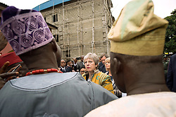 Prime Minister Theresa May meets charity workers at a Salvation Army centre in Lagos, where she discussed modern slavery and saw the work they are doing to make Nigerians more aware of the threats of slavery, on day two of her trip to Africa.